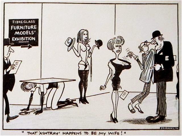 Jones, Allen, ashtray cartoon, Franklin, 1970