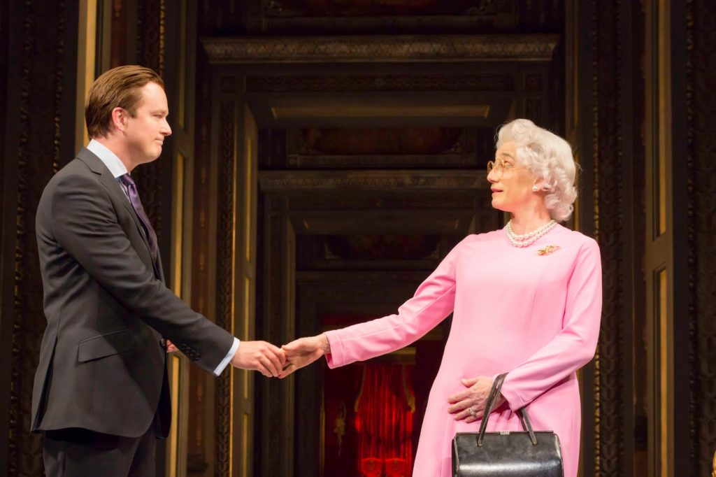 David Cameron (Mark Dexter) and The Queen (Kristin Scott Thomas) in The Audience. Photo credit Johan Persson