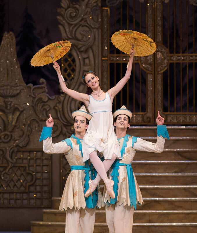 Sander Blommaert, Emma Maguire and Nicol Edmonds in The Nutcracker, The Royal Ballet © ROH/Bill Cooper, 2012
