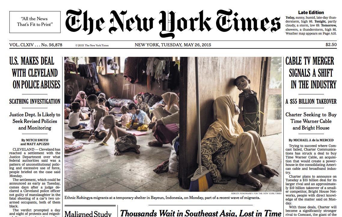 Обложка NYTimes с фотографией Пономарева из Индонезии