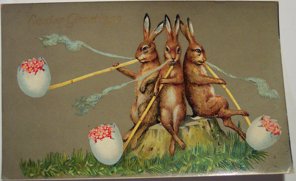 Easter-postcard-funny-rabbits-smoking-flowers-egg-pipes