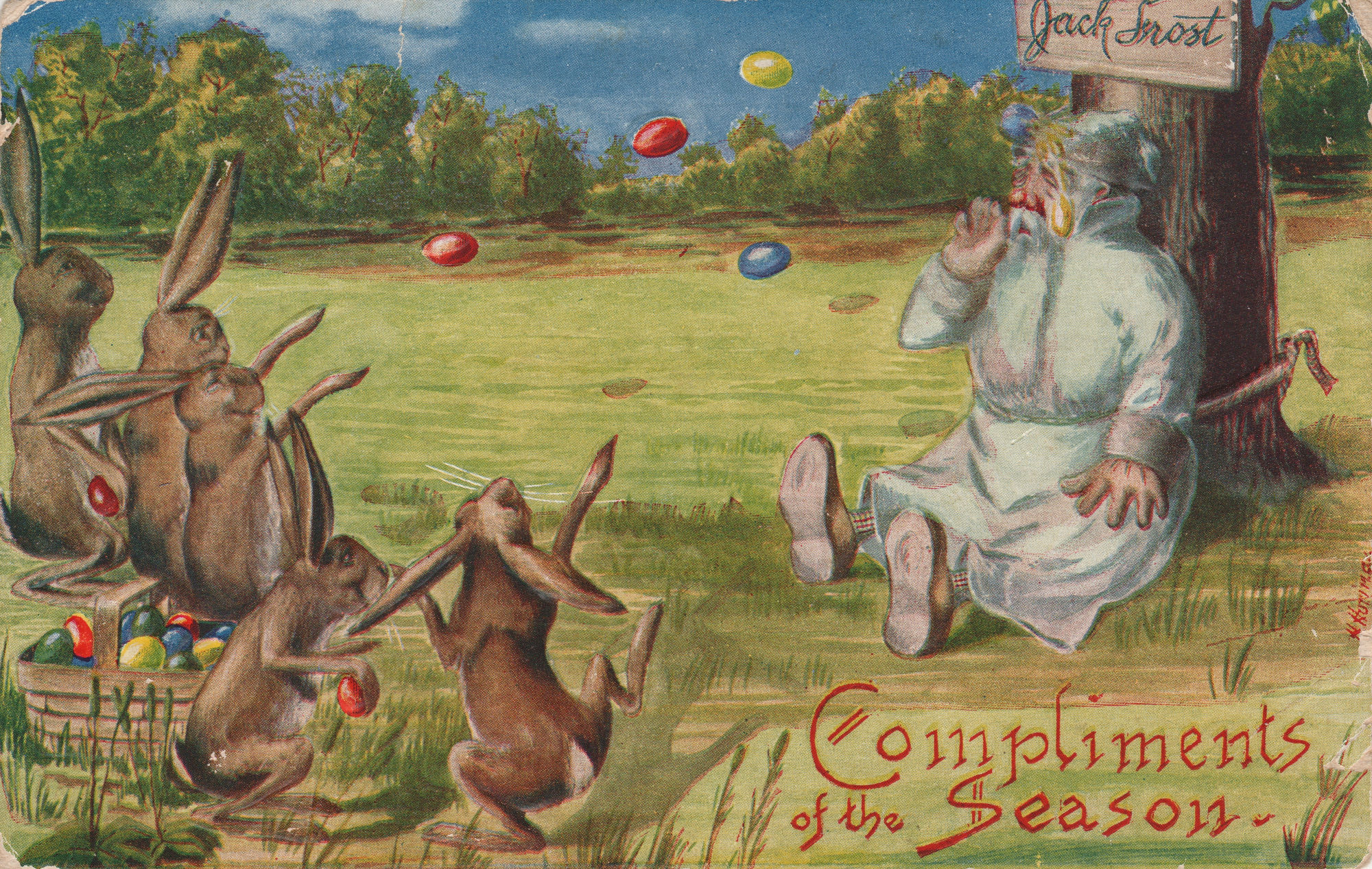 easter-rabbits-throwing-eggs-postcard