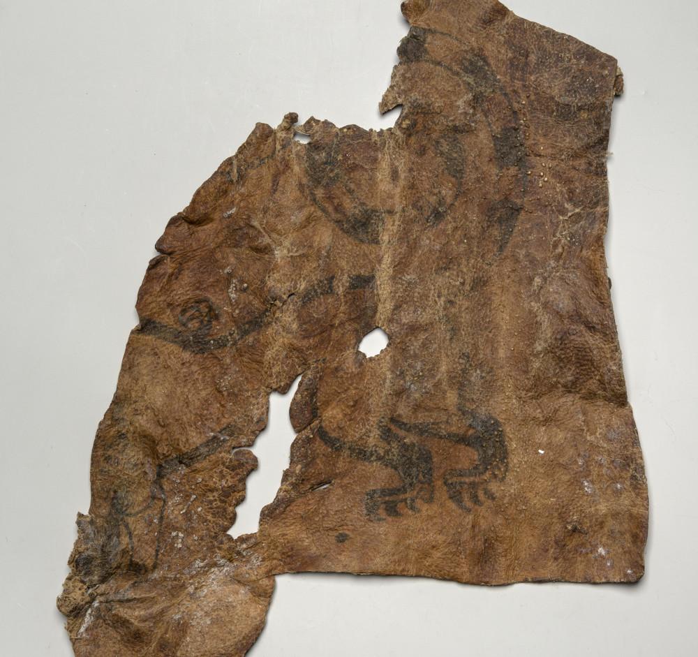 Кожный лоскут, снятый с мумии скифского воина