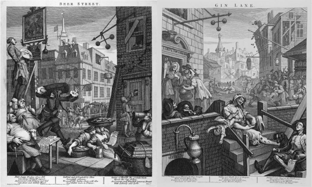"""""""Пивная улица"""" и """"Переулок джина"""". Две гравюры английского художника Уильяма Хогарта (1751), изображающие благопристойный район, в котором пьют пиво, и трущобы, в которых предпочитают джин"""