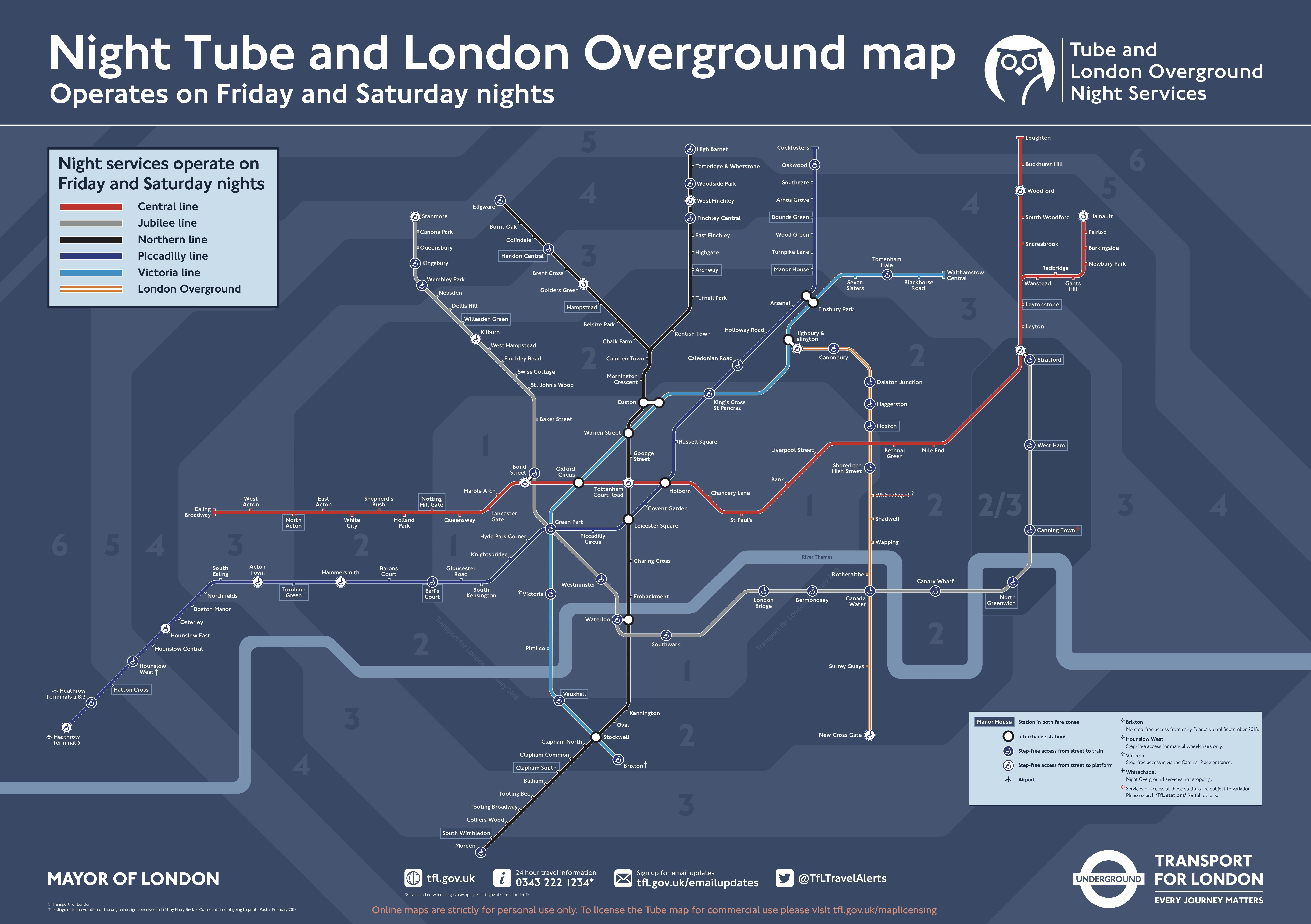 Карта ночного лондонского метро