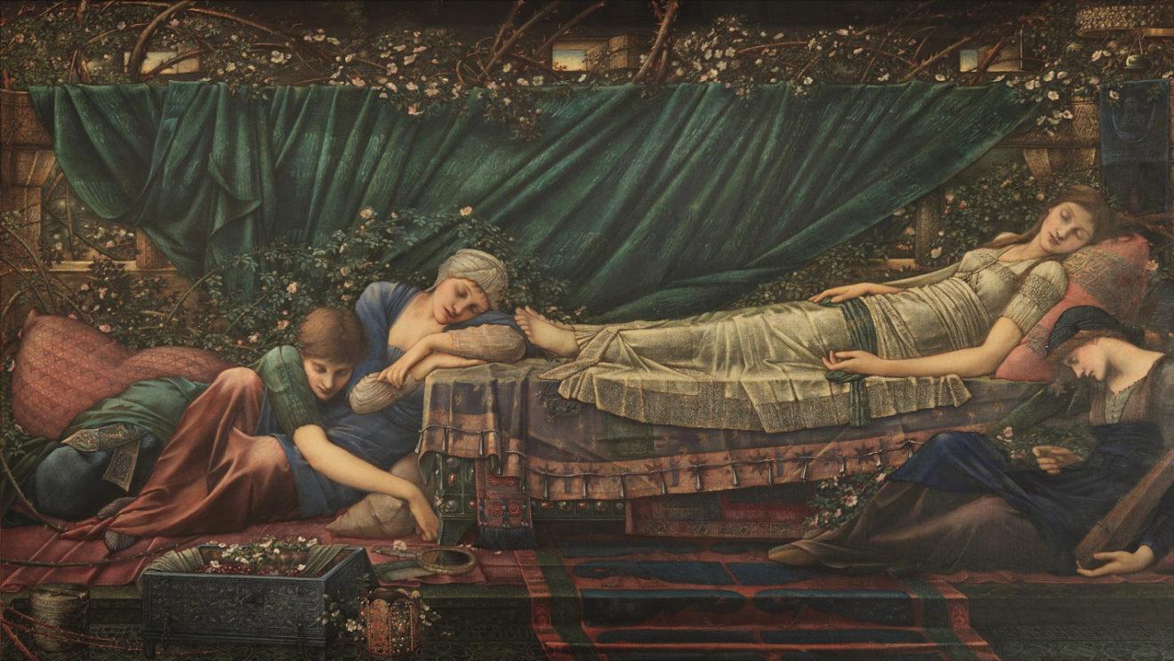 Эдвард Берн-Джонс. Розовая беседка (серия «Шиповник»), 1890