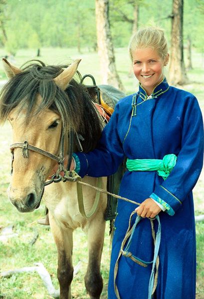 Александра во время поездки в Монголию