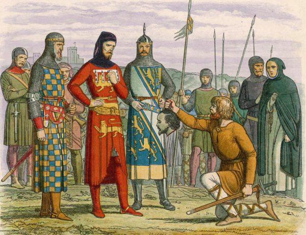 Королю Эдуарду II показывают отрезанную голову Пирса Гевстона