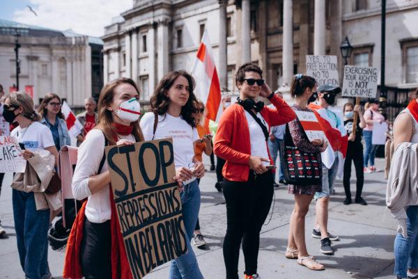 Цепь солидарности белорусов на Трафальгарской площади