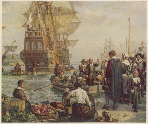 102 протестанта (из них 24 женщины) отправляются в Америку на судне Mayflower