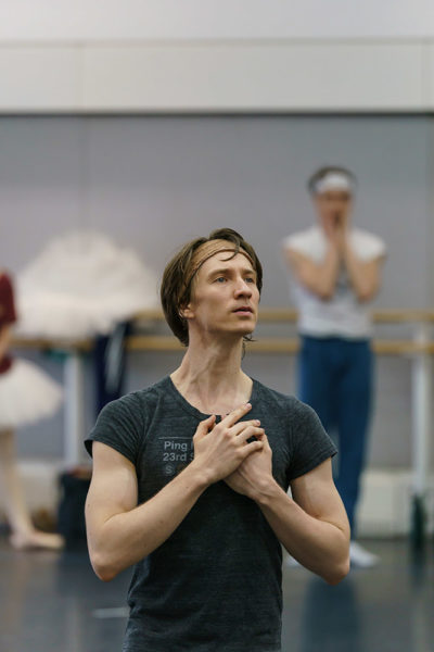 Vadim Muntagirov in rehearsal for Swan Lake